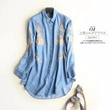 Femmes femme denim chemise 2020 tout neuf brodé à manches longues zaraing femmes denim chemise vadiming sheiner