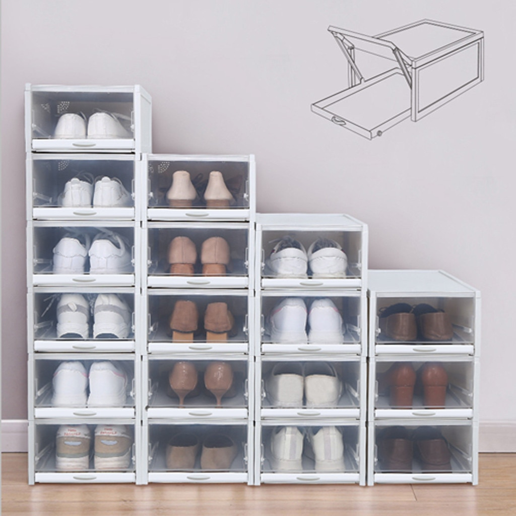 3PCS Push Drawer Type Shoe Box Shoe Organizer Drawer Shoe Boxes Transparent Plastic Shoes
