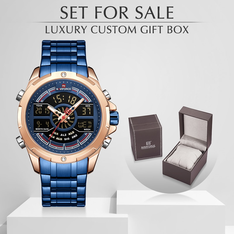 NAVIFORCE мужские часы с коробкой, мужские спортивные кварцевые часы, набор для продажи, светодиодный цифровые часы из нержавеющей стали, мужски...