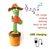 baby girl plush cactus dancing toy talking speaker usb charging voice repeat 120 english songs dancing cactus potted plant