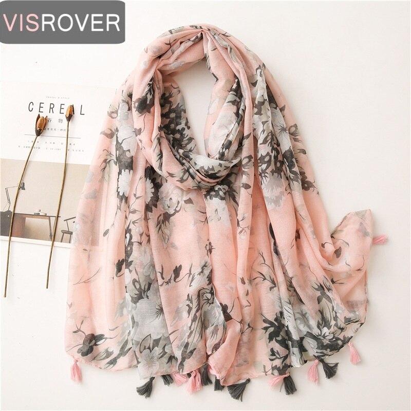 VISROVER 2021 Flower Beach Scarf Pink Navy Viscose Summer scarf woman Fashion Wraps Shawls Hijab Tourist gift wholesales