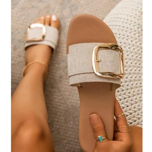 2020 Summer New Woman's Shoes Summer Slippers Outdoor Flat Sandals Beach Fashion Buckle Solid Color Plus Size 41