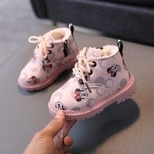 Disney automne hiver Mickey mouse garçons coton enfant baskets enfants chauds dessin animé chaussures décontractées pour les filles chaussures de sport
