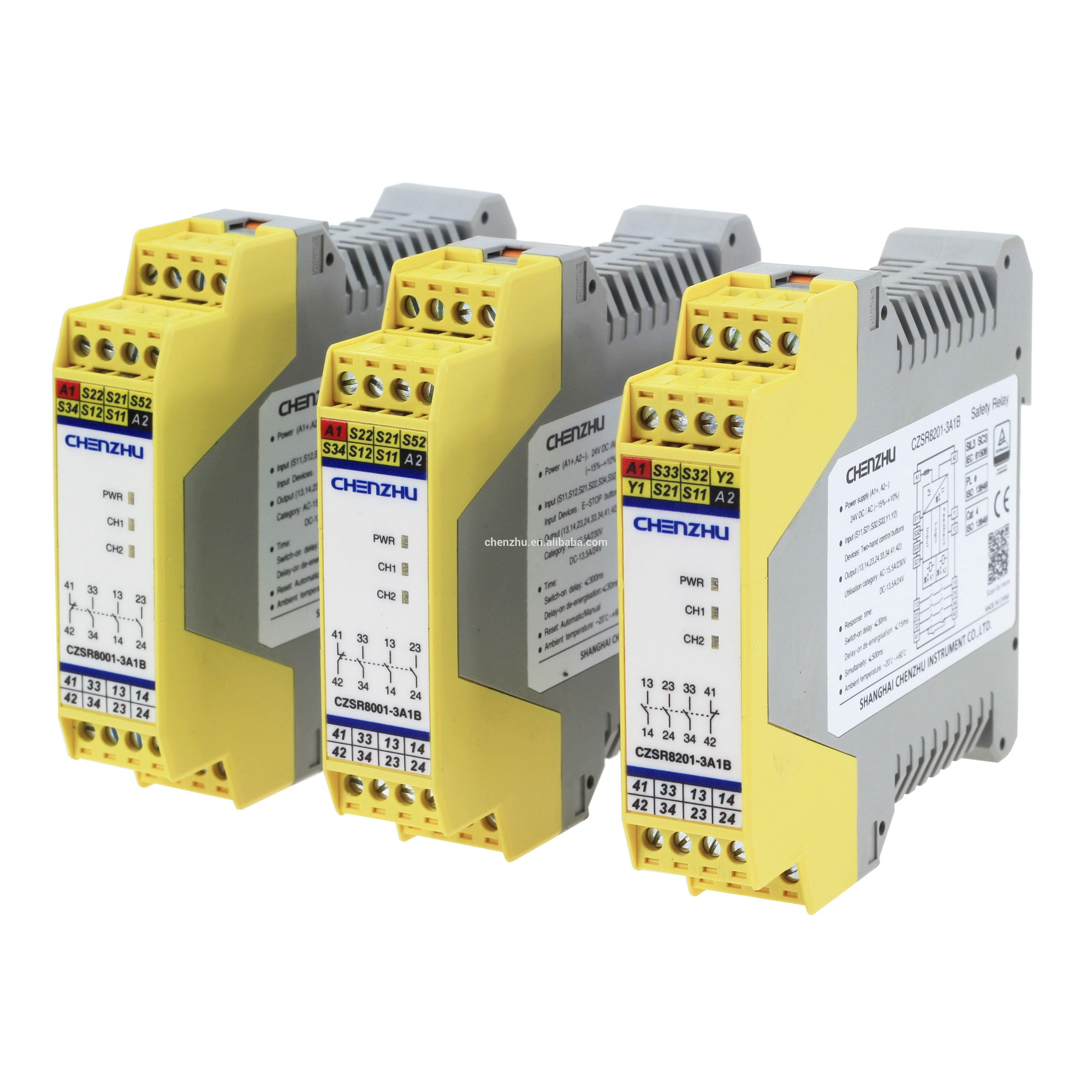 CZSR8001-2A2B-P PNP-نوع ضوء الستار سلامة التتابع | 24V DC | 2NO + 2NC | السيارات/دليل إعادة CHENZHU