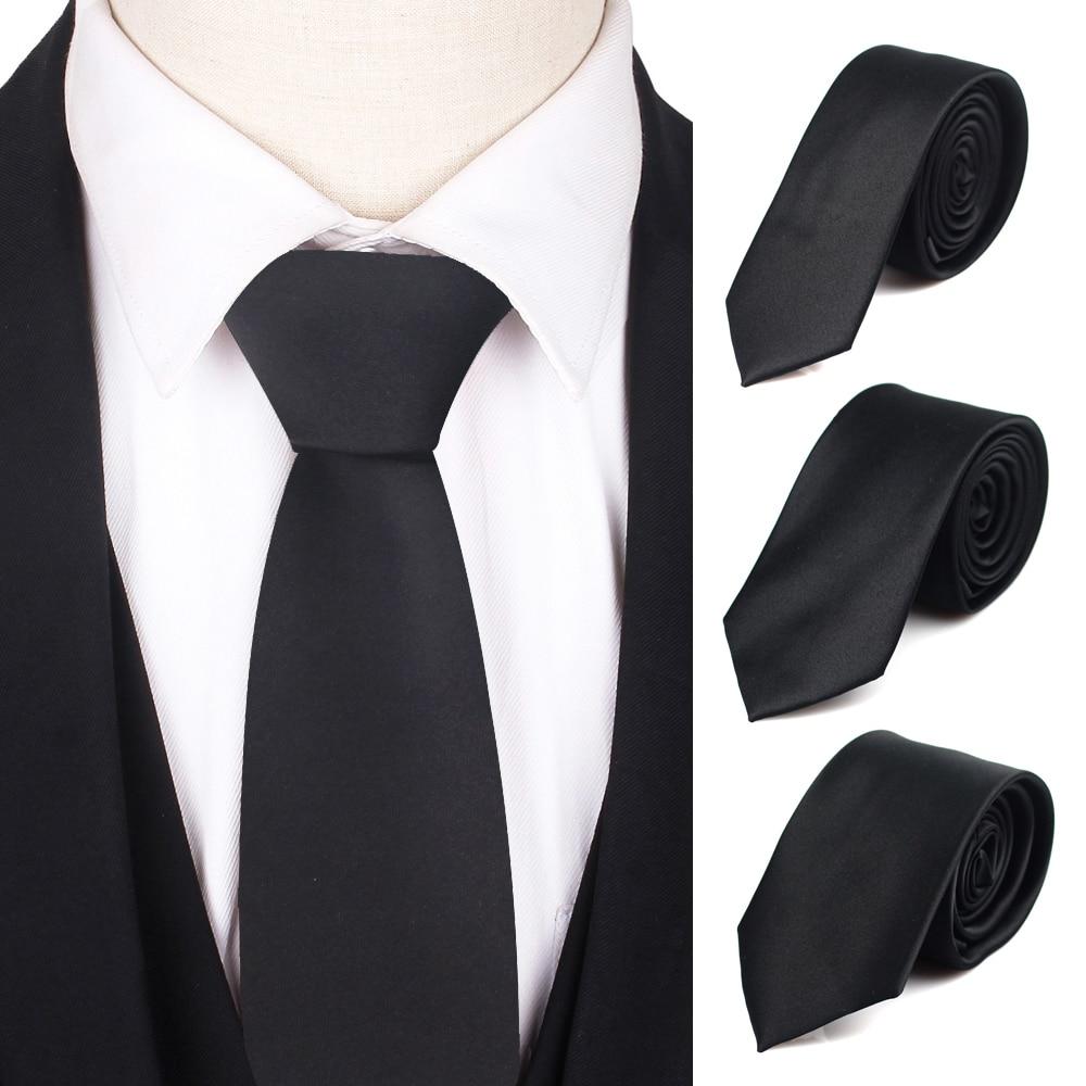 Black Neck Ties For Men Women Casual Suits Solid Tie Gravatas Skinny Mens Neckties For Business Wedd