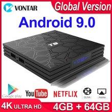 안드로이드 9.0 TV 박스 T9 스마트 TV 박스 4K 쿼드 코어 미디어 플레이어 4GB RAM 32GB/64GB ROM H.265 2.4G/5G WIFI USB 3.0 TVbox 셋톱 박스