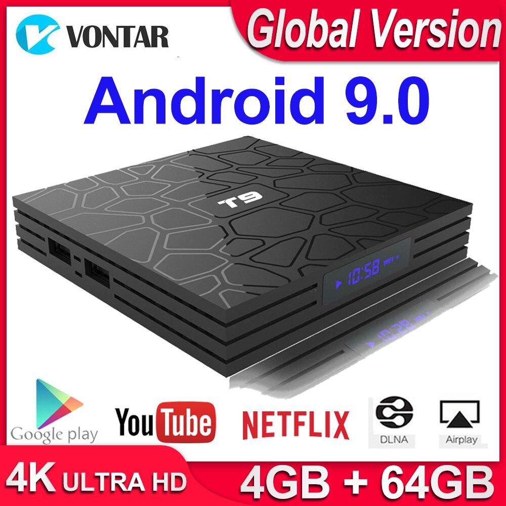 Android 9,0 TV BOX T9 Smart TV Box 4K Quad Core Media Player 4GB RAM 32GB/64GB ROM H.265 2,4G/5G WIFI USB 3,0 TVbox Set Top Box