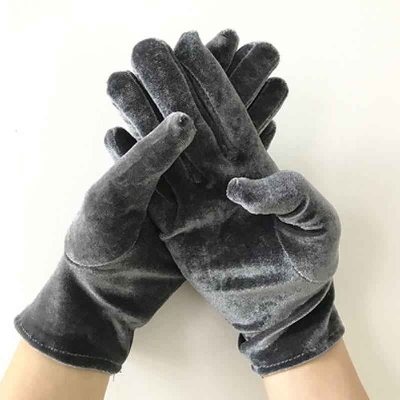 Золотые бархатные эластичные перчатки, зимние теплые женские перчатки, тонкие короткие женские перчатки, Элегантные Перчатки для банкета, ...