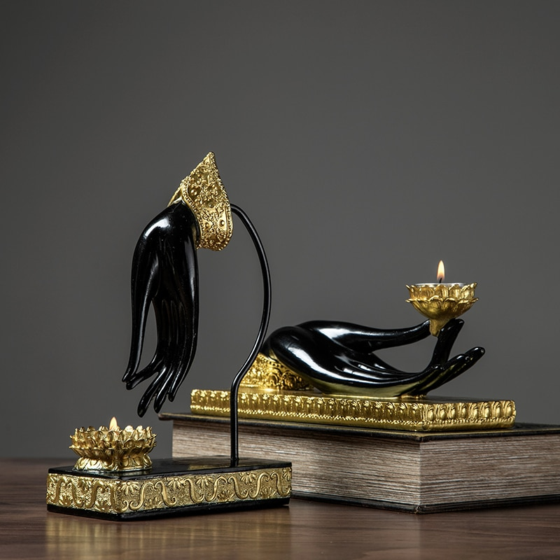 Castiçal Budista Postura Resina Escultura fé Decorativo