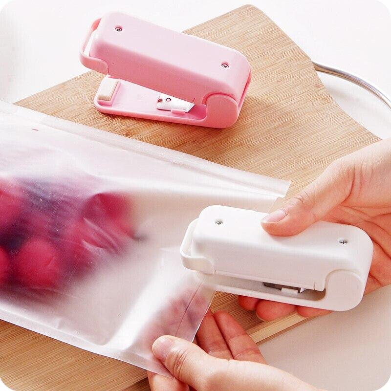 Portátil mini aferidor do calor em casa saco de plástico alimentos lanches saco de vedação máquina de embalagem de alimentos cozinha saco de armazenamento clipes dropshipping