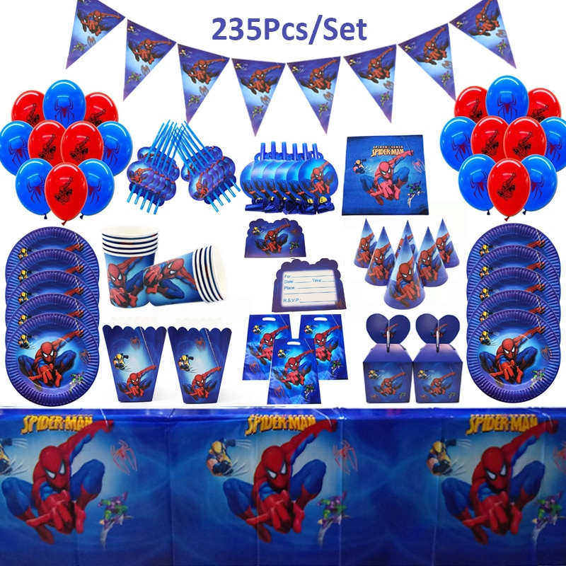 Blue Spiderman Theme Birthday Party Decoration Paper Cup Plate Straw Nakpin Flag Kids Boy Children Day Party Supplies Super Hero