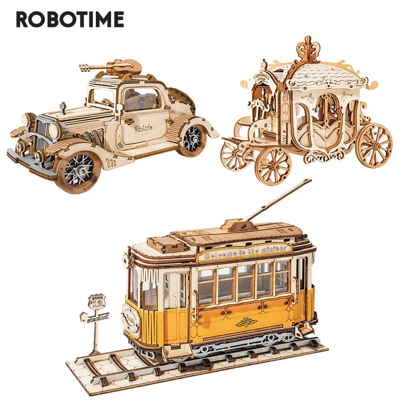 Robotime 3 Kinds DIY 3D Transportation Wooden Model Building Kits Vintage Car Tramcar Carriage Toy Gift for Children