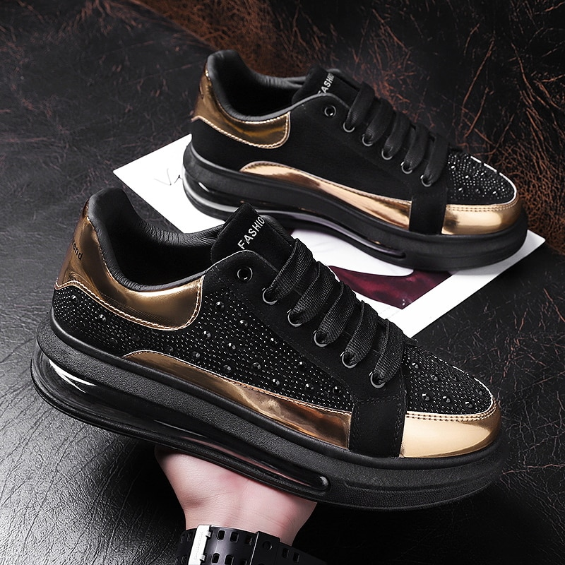 Gold 2021 Spring Autumn Casual Sneakers Mens Sport Style Black Patent Leather Shiny Flat Student Teenagers Trend Mixed Colors
