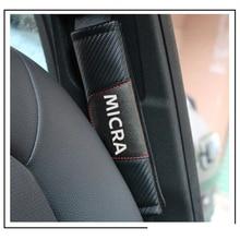 Pour Nissan Micra 2 pièces mode en cuir de Fiber de carbone couverture de ceinture de sécurité de voiture