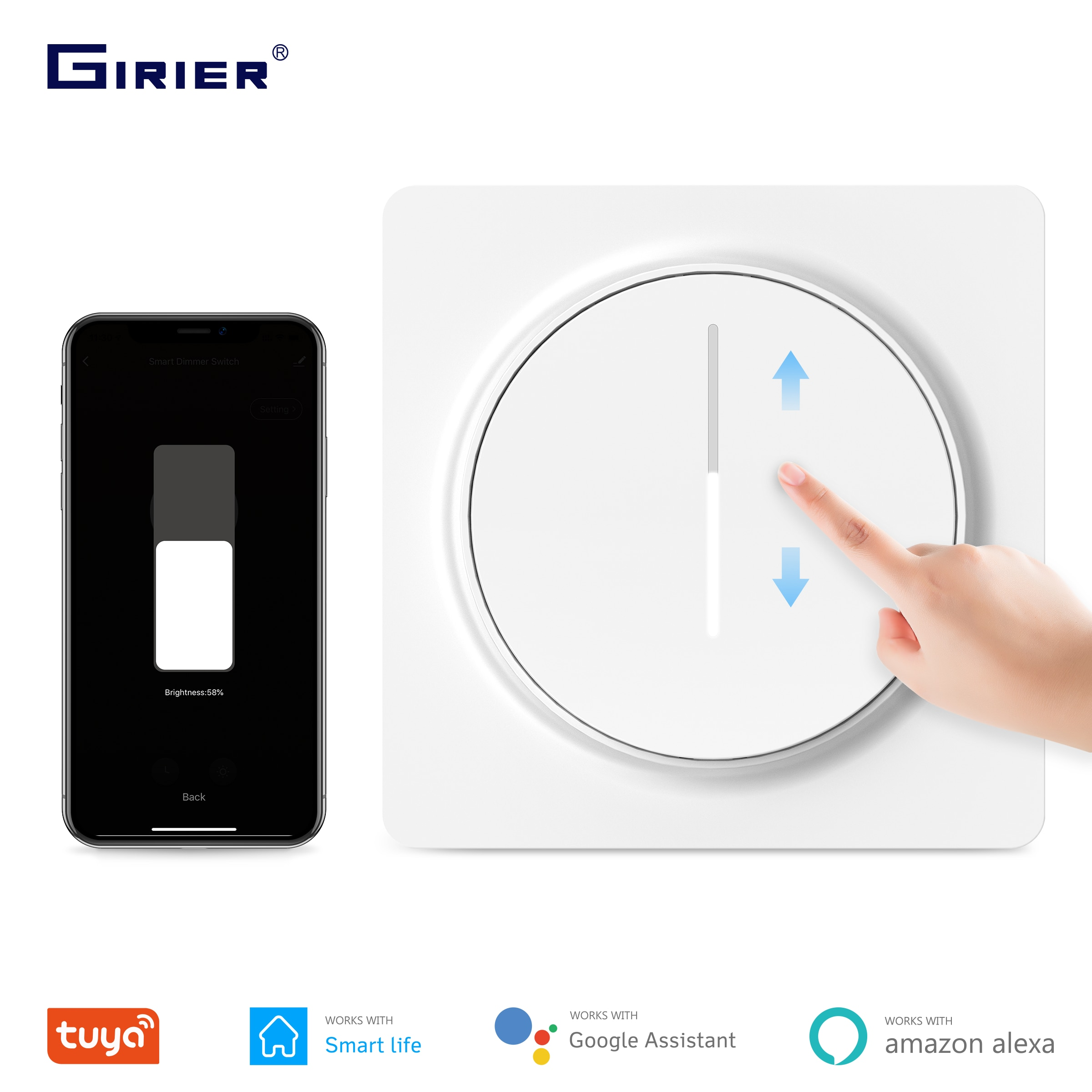 Tuya-مفتاح باهتة ذكي wi-fi ، لوحة لمس قابلة للتعديل ، EU 100-240V ، متوافق مع Alexa و Google Home ، لا يوجد محور مطلوب