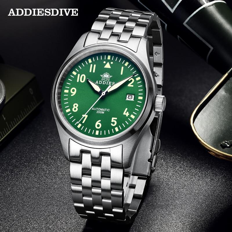 Addies Dive Pilot Watch Automatic Mechanical Diver Watch C3 Luminous men's watches divers Sapphire C