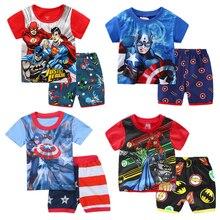 Crianças pijamas conjuntos capitão-américa spiderman batman superman algodão verão roupas do bebê meninos crianças traje