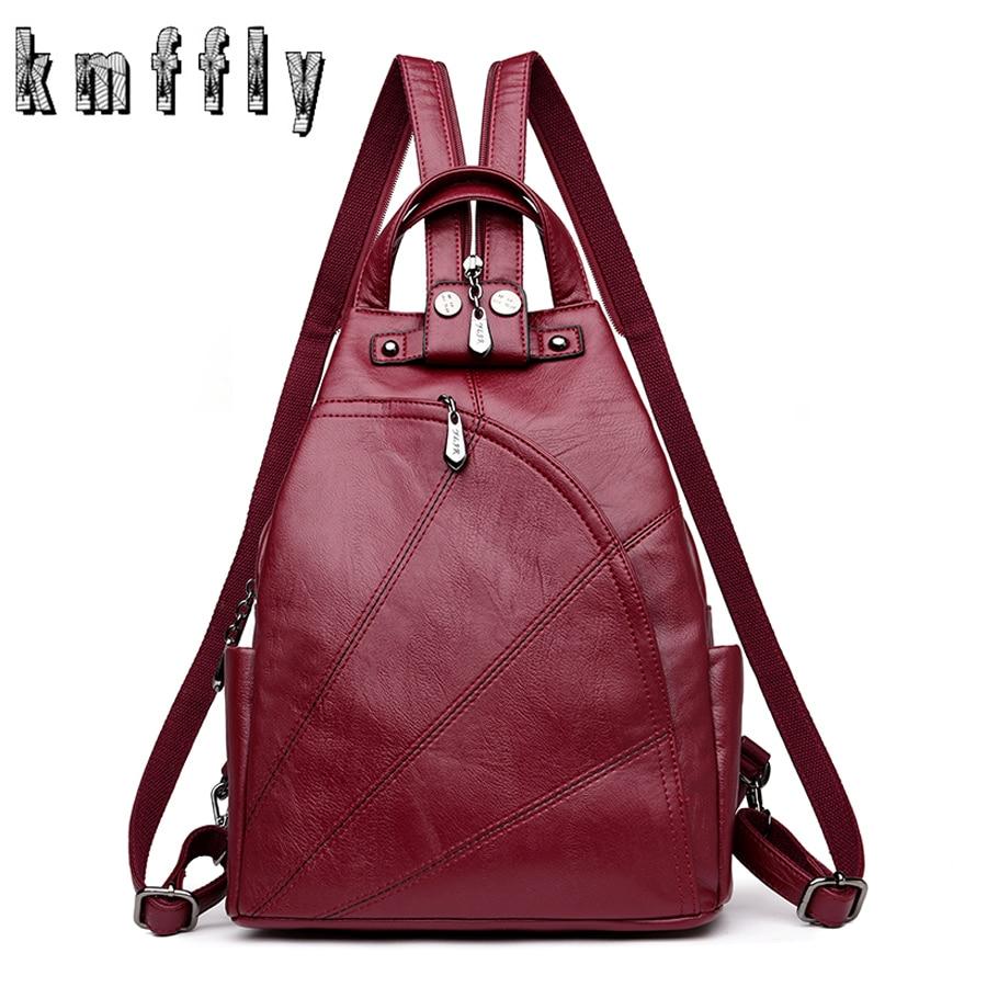 2020 Women Leather Backpacks Vintage Female Shoulder Bag Sac a Dos Travel Ladies Bagpack Mochilas School Bags For Girls Preppy