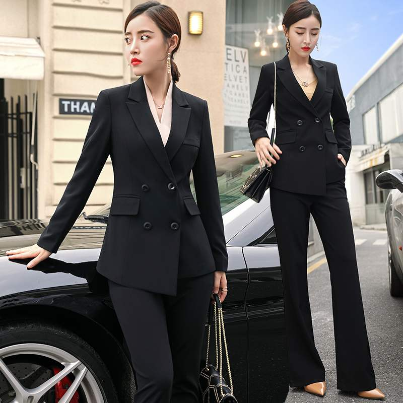 Womens Black White Red Business Formal Pant Suits for Women Office Ladies Double Breasted Blazer Pants Women's Work Pantsuit