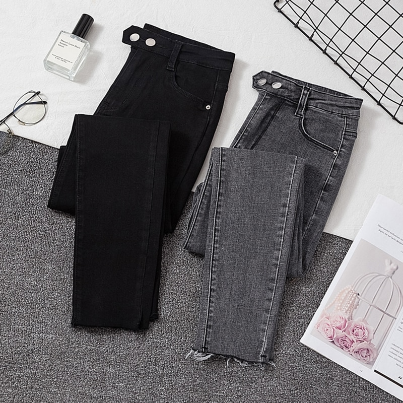 Женские джинсы HED размера плюс, джинсовые брюки, черные женские джинсы, женские Стрейчевые брюки, женские облегающие брюки для женщин