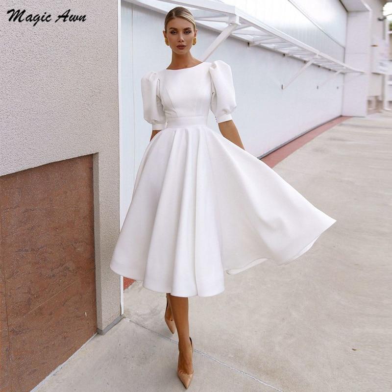 ماجيك عون Elegnat طول الركبة ستان فساتين الزفاف الشاطئ قصيرة الأكمام البلد بوهو زي العرائس a-line 2021 Vestidos De Novia