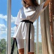 Mode blanc femmes ensembles avec ceinture décontracté solide tenues maison ample loisirs costume été femmes deux pièces costume