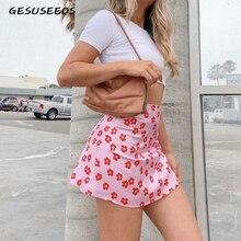 Мини юбка элегантная Бохо юбка Женская высокая талия юбка Цветочная атласная юбка короткая кавайная юбка женская розовая юбка трапециевидная