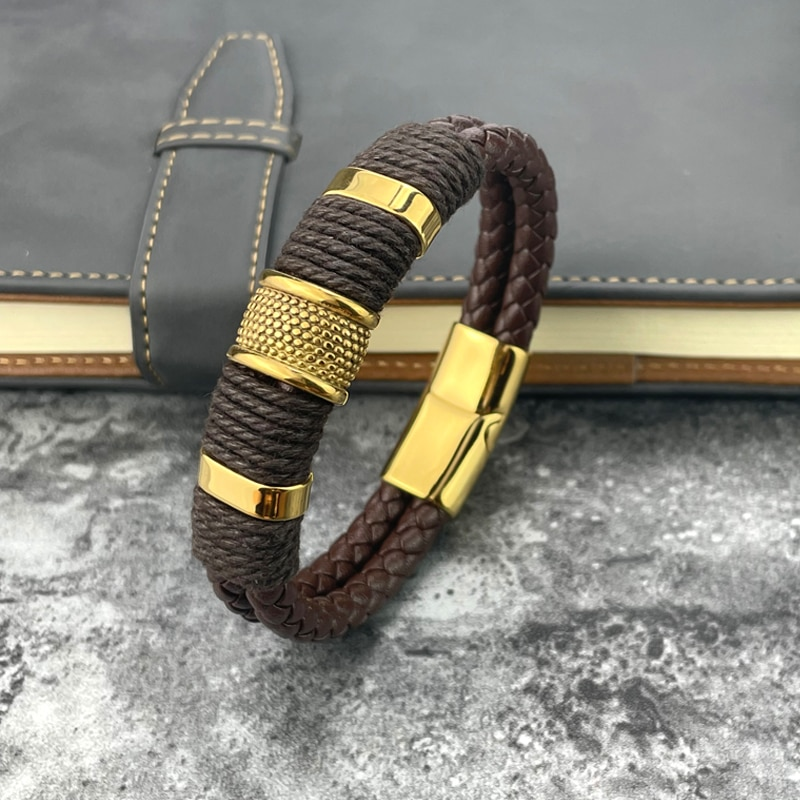 New 2 Layers Black Gold Punk Style Design Genuine Leather Bracelet for Men Steel Magnetic Button Bir