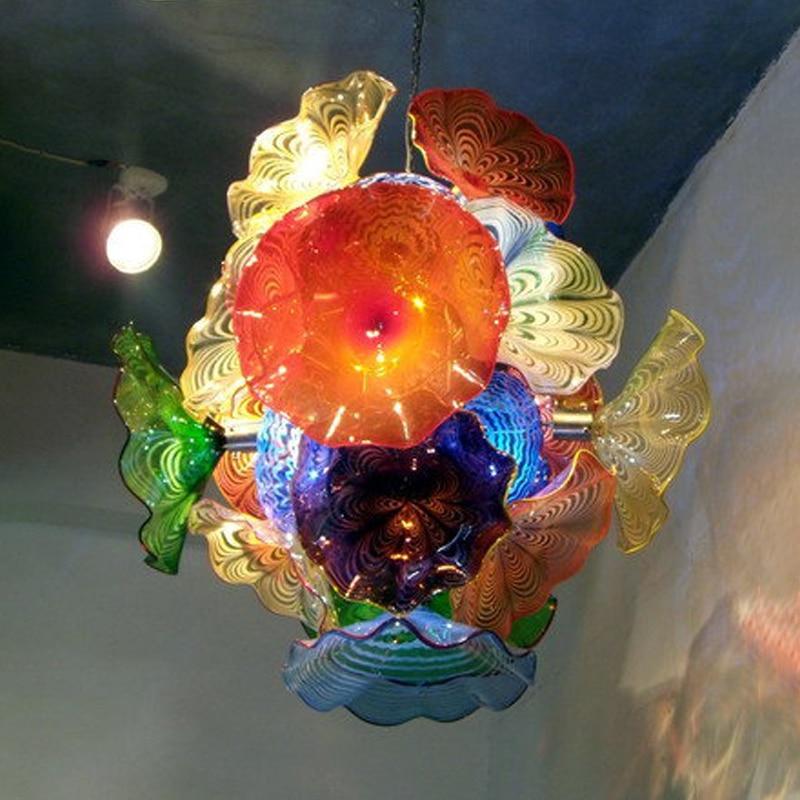 زهرة الثريات اليد الزجاج المنفوخ أضواء الثريا LED مورانو الفن ضوء لوحات زهرة مصباح غرفة المعيشة المنزلي الديكور