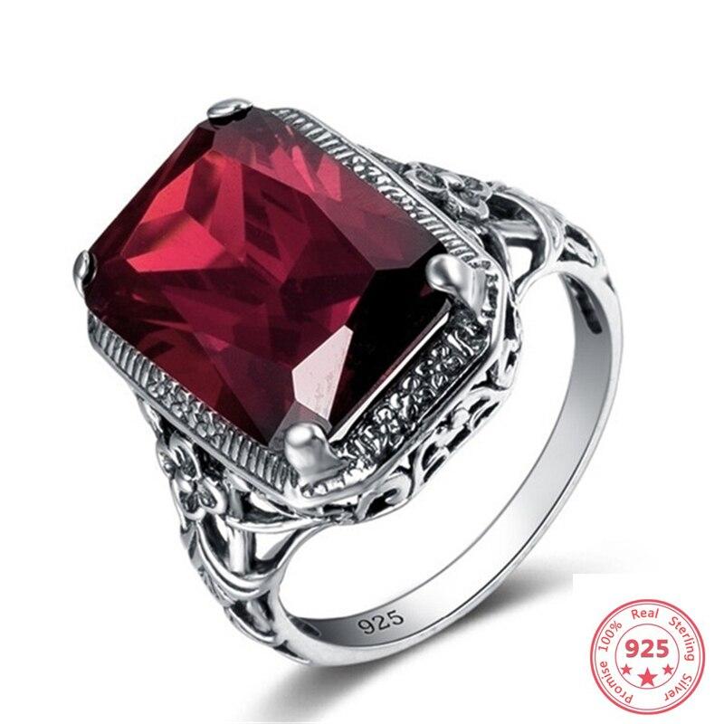 Anillo de rubí de diamante rojo de Color plateado 925 para mujer, piedra preciosa Bizuteria Topaz, anillo de compromiso de rubí Retro, anillo de joyería simulado 925