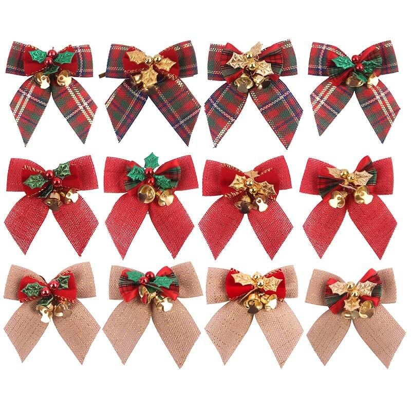 1/2/3 Uds. Paño Vintage de lino a cuadros de 8x8cm, lazos de Navidad, adorno DIY, accesorios de costura para guirnalda/VID/decoración del árbol de Navidad