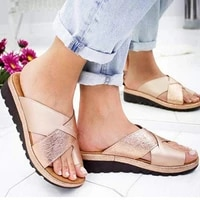 2021 new summer mid heel wedge sandals and slippers women european and american style ladies sandals comfortable flat shoes