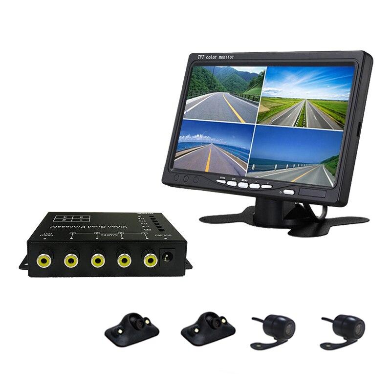 TEXOSA bus camión cámara de coche vídeo Quad Split caja de Control espejo interruptor para cámara delantera/trasera/lateral NTSC/PAL compatible