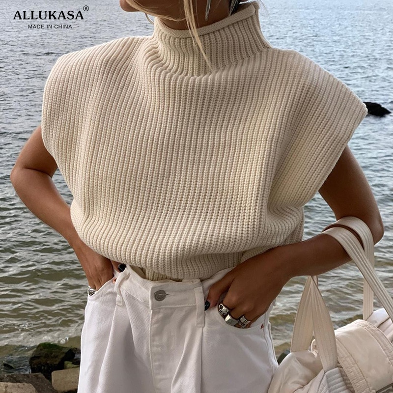 Allukasa Turtleneck Sleeveless Vest Sweater Women  With Shoulder Pads Knitted Pullover Autumn Winter Jumper Casual Tops Fashion