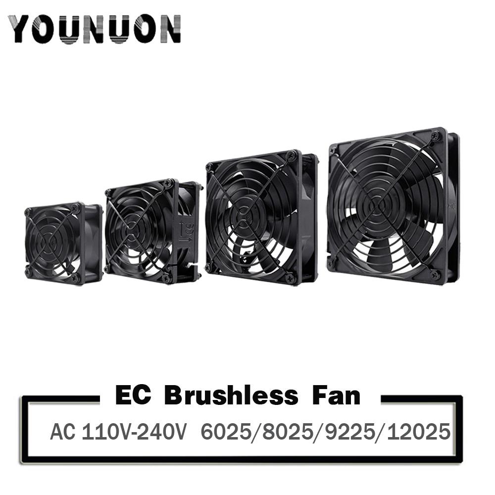 YOUNUON 60mm 80mm 90mm 120mm EC Brushless Fan AC 110V 115V 120V 220V 240V Axial Fan with Srews/Grill 6025 8025 9225 12025 12038