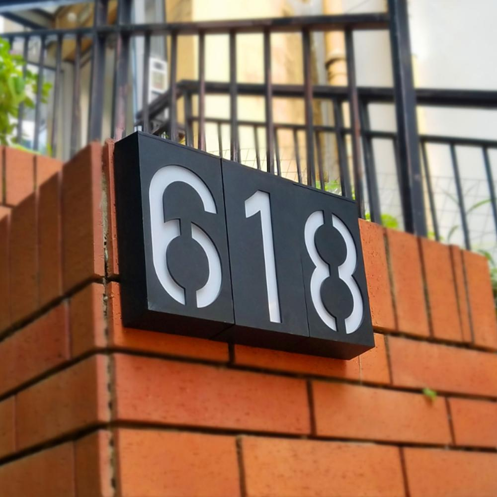 LED Solar House Number Night Light Sign Hotel Door Address Plaque Number Digits Plate Lamp Outdoor Wall Led High Brightness Sign