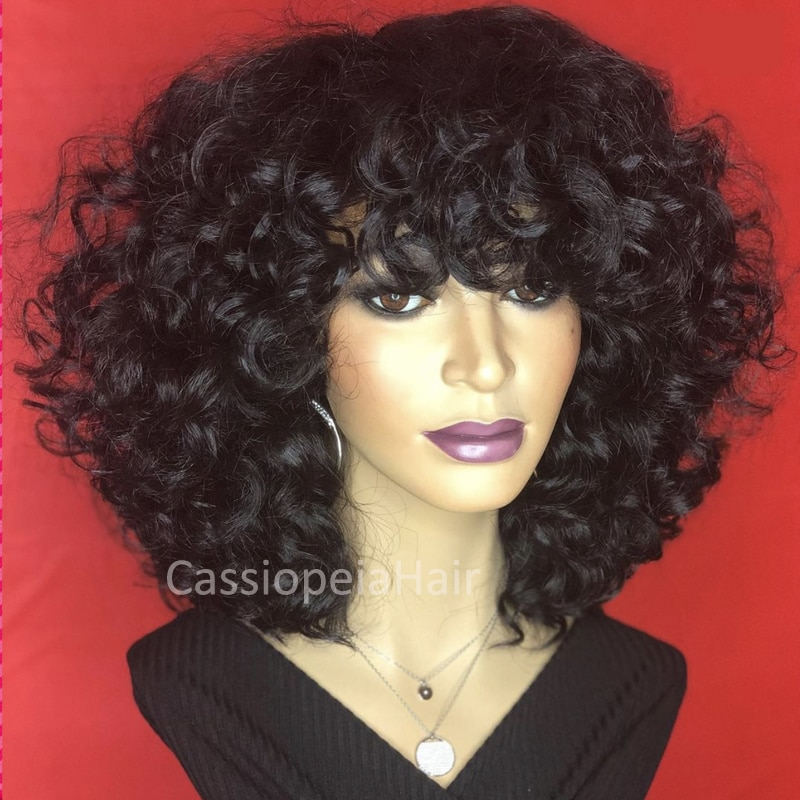 250% Density Bouncy Curly Human Hair Wig Loose Curly Silk Base Scalp Top Wig For Black Women Brazilian Remy Short Wig with Bangs