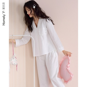 Pajamas Women's Spring Summer Cotton Long Sleeve Home Wear Spring and Autumn Thin White Cute Japanese Style Princess Style