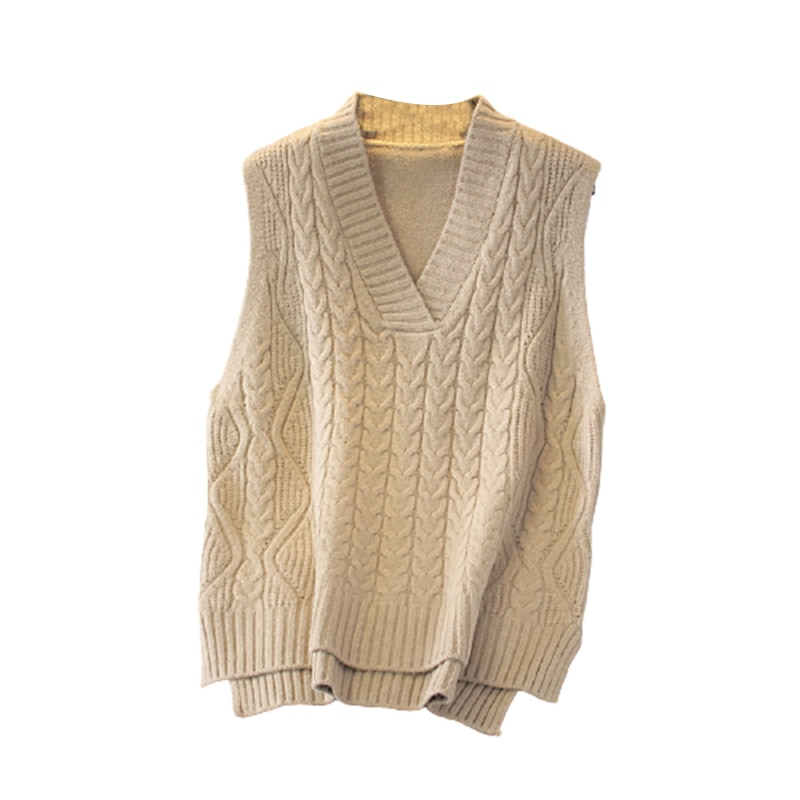 Korean Fashion Sweet Gilet 2021 Spring Knitted Warm Women's Vest Loose V-Neck Female Sleeveless Sweater Vests New Twisted Solid