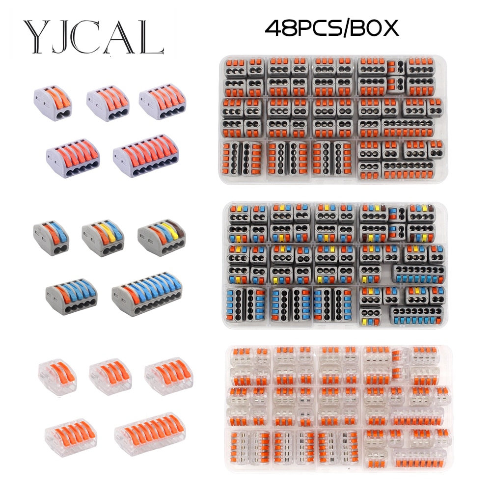 AliExpress - 30/48PCS BOX Fast Wiring Connector Push-in Terminal Block Electrical Cage Spring Universal  Household Combination Suit