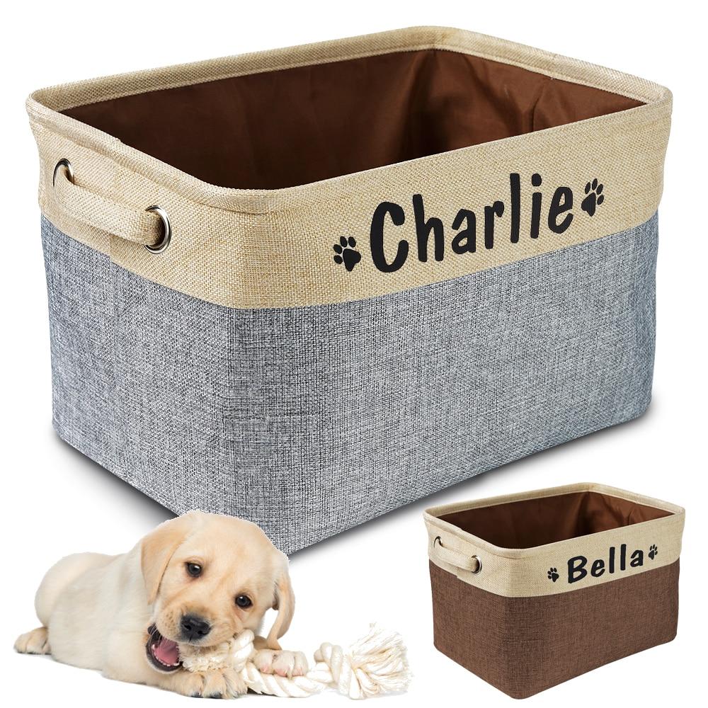Gepersonaliseerde hond speelgoed opbergmand hond canvas tas opvouwbare huisdier speelgoed linnen opbergdoos bakken hondenaccessoires dierbenodigdheden