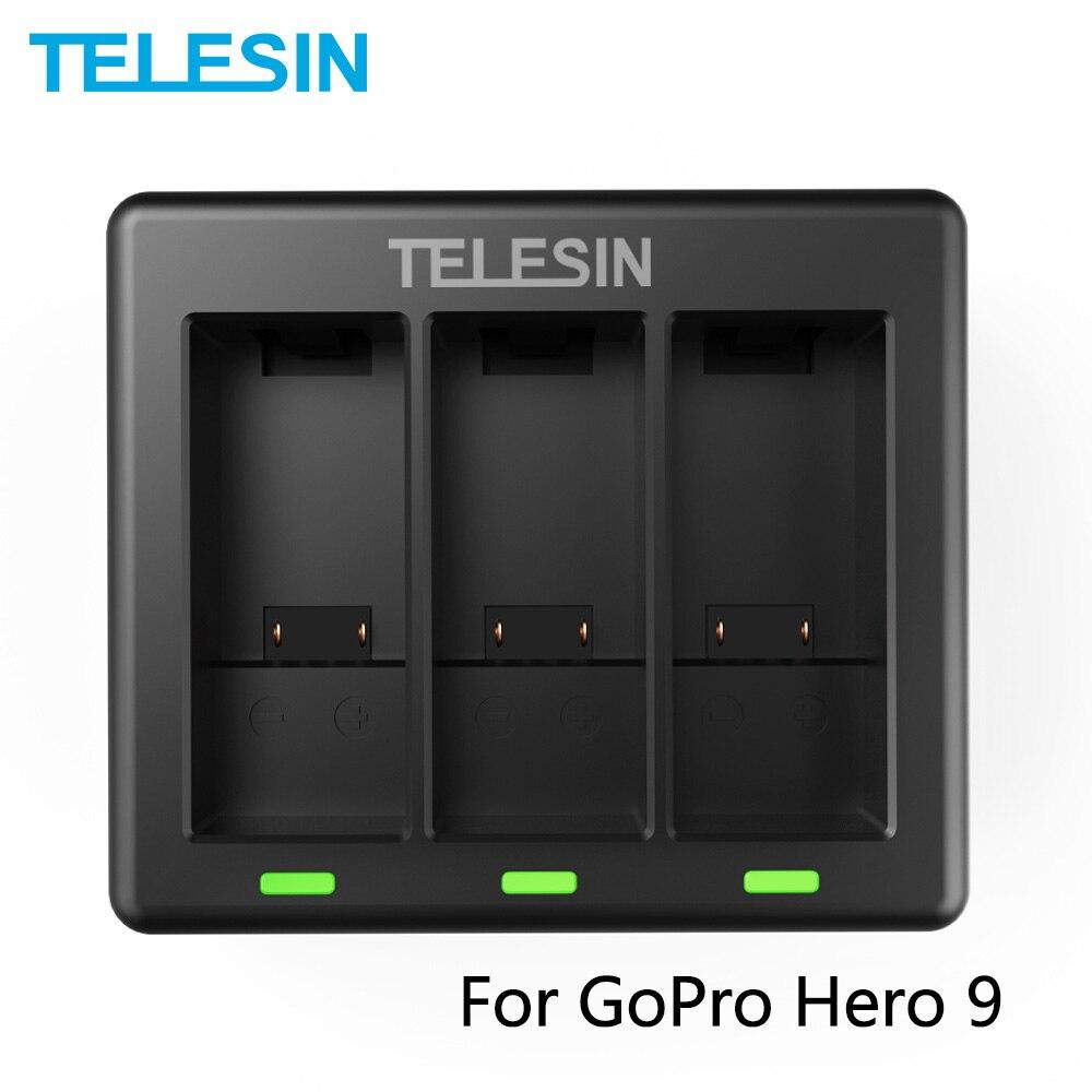 TELESIN-cargador de batera de iones de 3 vas con luz LED caja...