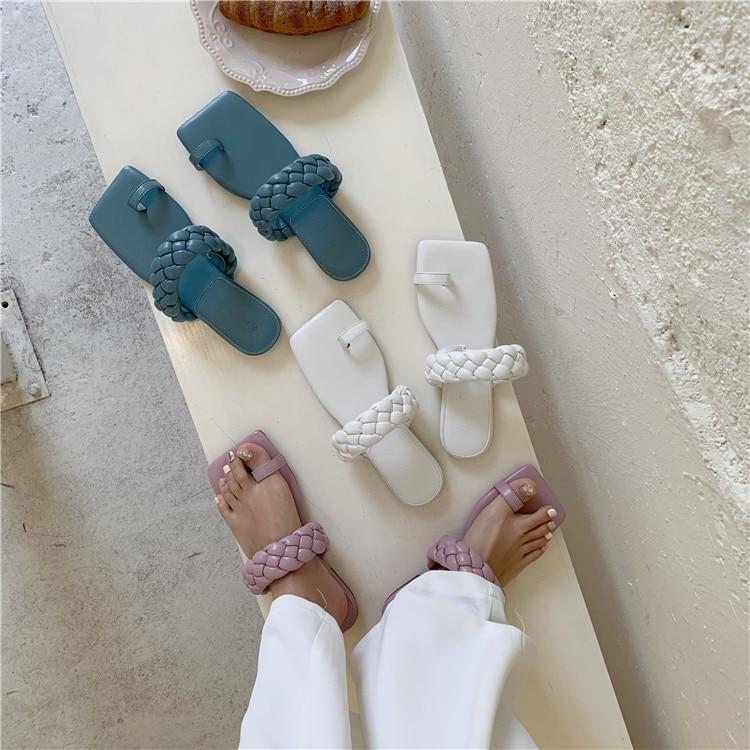 2020 New Design Square Toe Thin flats Slippers Summer Outdoor Slip On Dress Shoes Ladies Elegant Slides Sandals