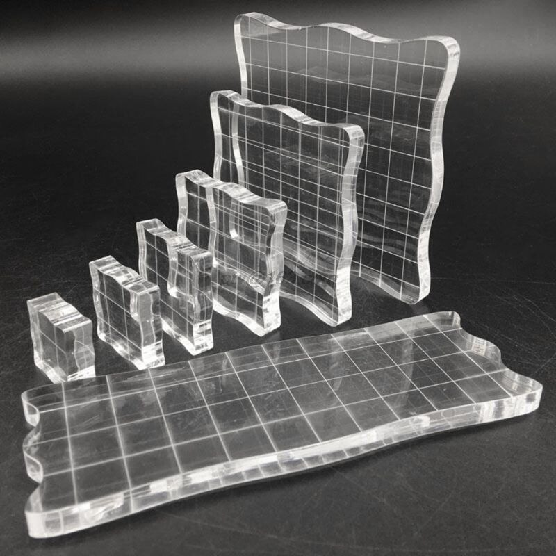 7pcs/set Transparent Acrylic Clear Stamp Block Pad Scrapbooking DIY Handmade Tool Curve Edges Stamping
