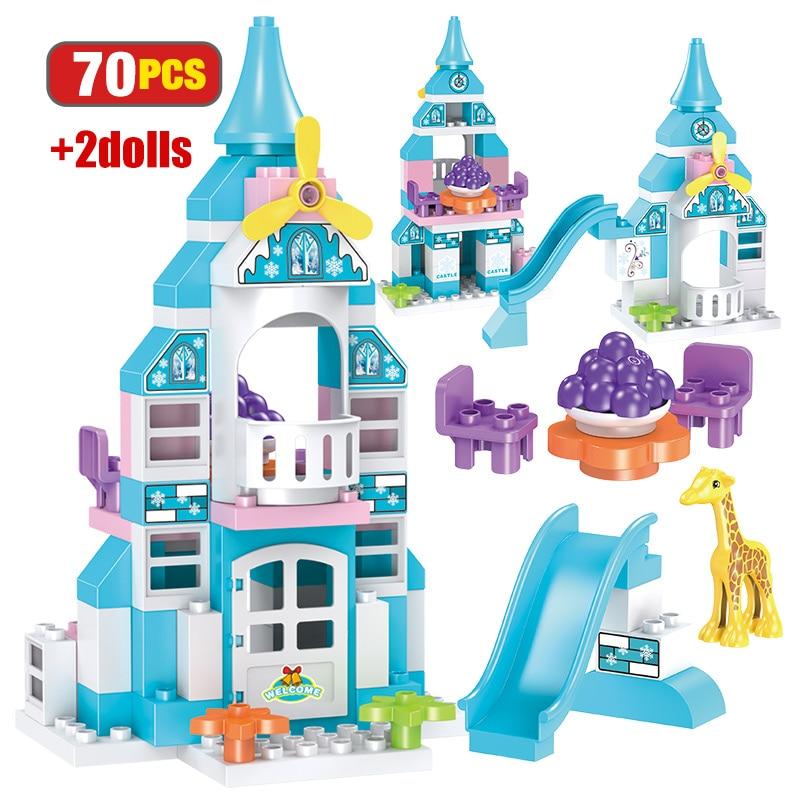 70 pçs elsa castelo de gelo modelo blocos de construção cidade amigos castelo de neve casa princesa figuras duploed grandes tijolos diy brinquedos para menina