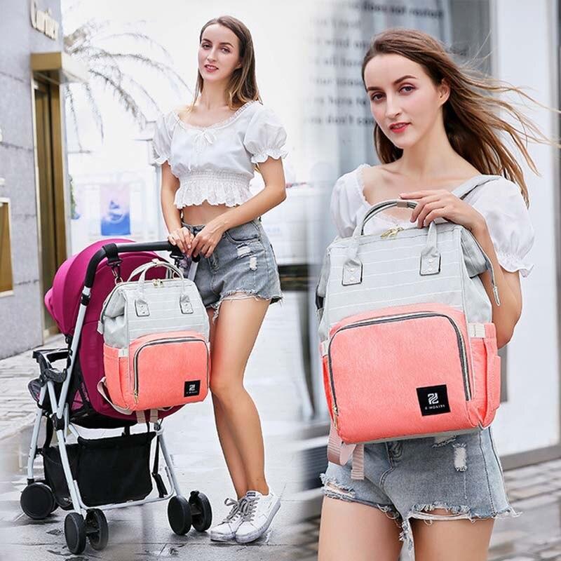 حقيبة حفاضات ذات سعة كبيرة للأم ، ماركة عصرية ، عربة أطفال ، متعددة الوظائف ، مقاومة للماء ، حقائب سفر خارجية