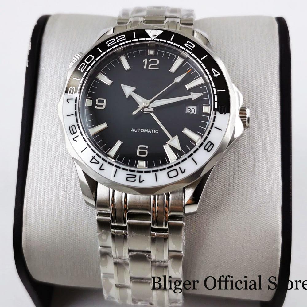 BLIGER-ساعة رجالية من الفولاذ ، ساعة يد من الياقوت والزجاج ، مؤشر تاريخ GMT