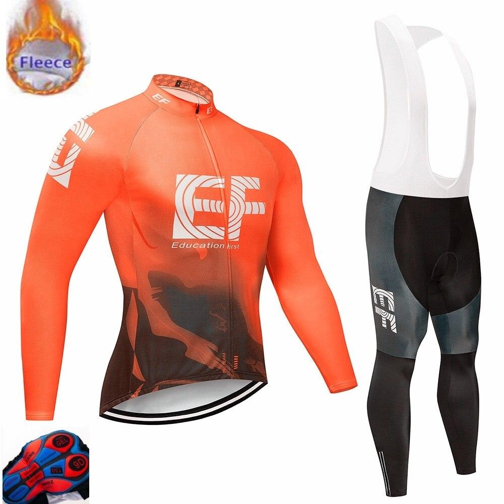 2019 bildung Erste MTB Bike Kleidung Maillot Ropa Ciclismo Hombre Fahrrad Tragen EF Radfahren Jersey sets 9D/winter Thermische fleece