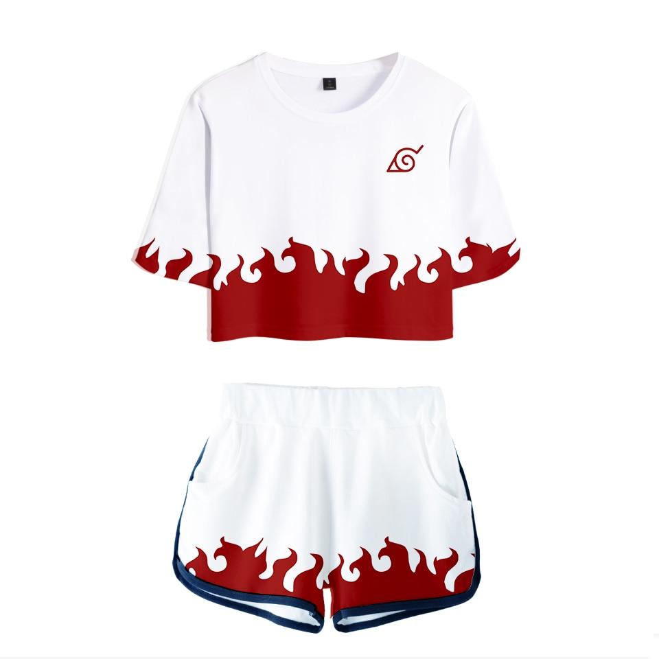 Naruto Dew navel t shirt Set Girl 2019 Harajuku Hot Sale Casual Crop Tops 3D Naruto Shorts And T-shirt Women Fashion Kids Top