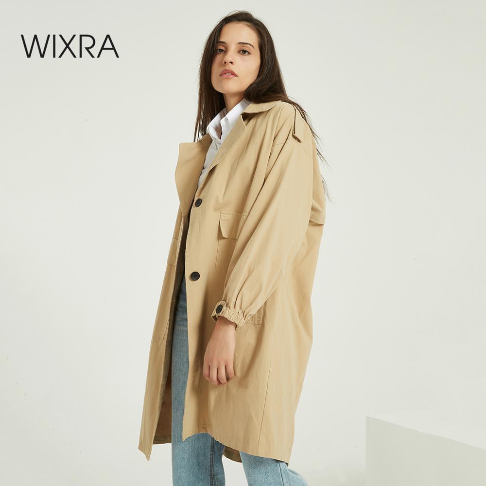 Wixra-معطف نسائي كبير الحجم ، ملابس غير رسمية ، لون عادي ، كلاسيكي ، ملابس خارجية ، صدر واحد ، ملابس الشارع ، طويل ، خندق ، خريف ، ربيع